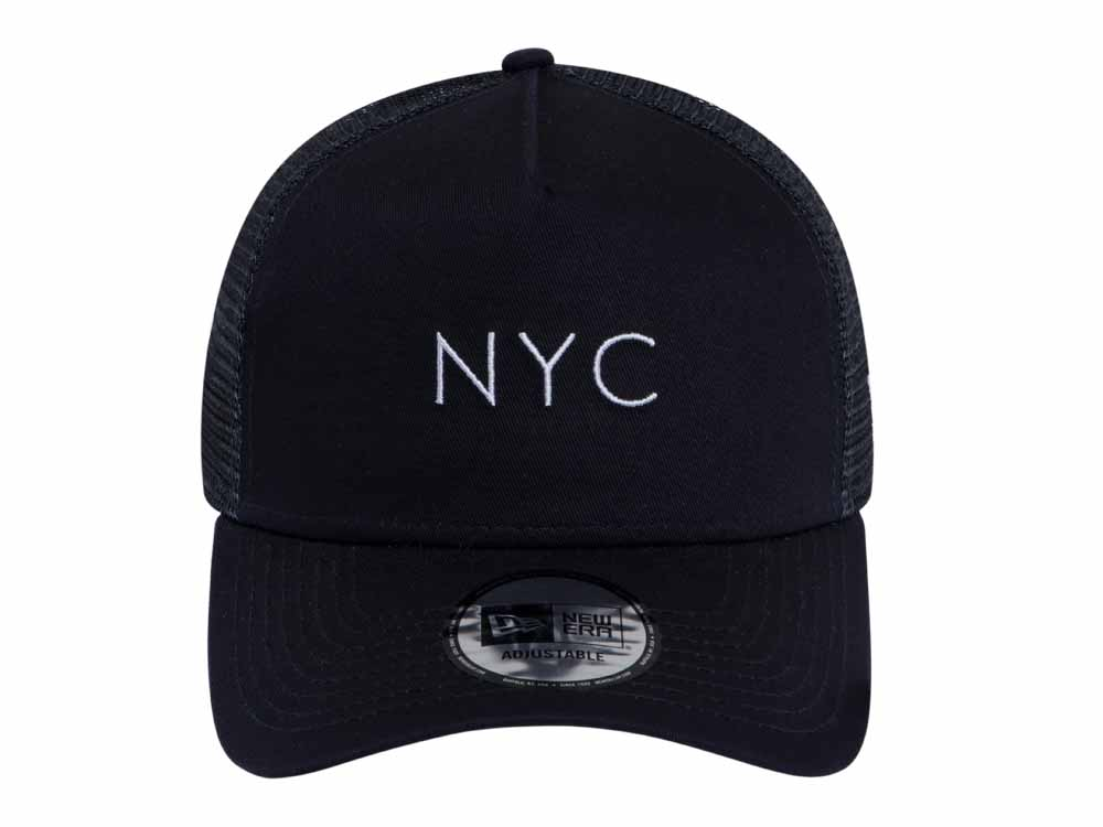 hot sale online 9b8aa af113 New Era NYC Trucker Mesh Navy 9FORTY A-Frame Cap