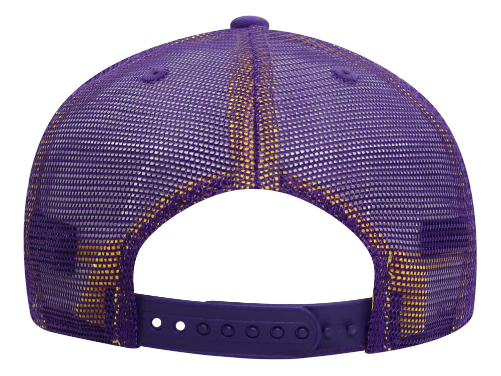6aab081e2 Los Angeles Lakers NBA Team Repeated Trucker Mesh Purple 9FIFTY High ...