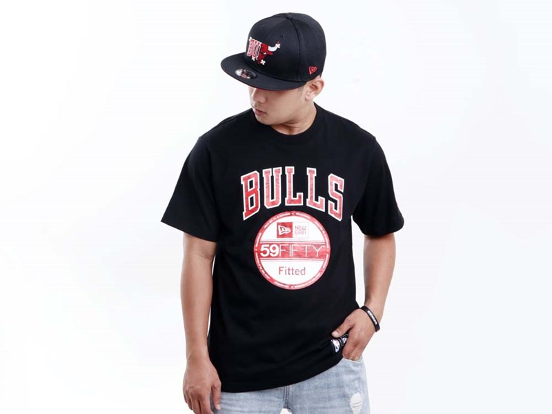 Chicago Bulls NBA New Era Team Black Short Sleeve Black Shirt
