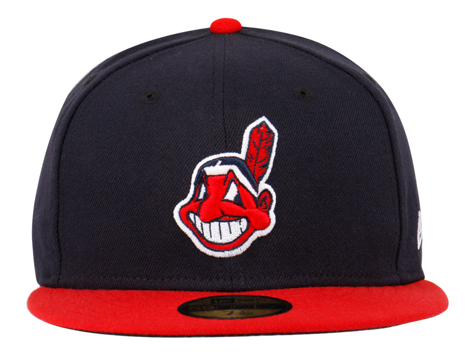 b042a91ff92 Cleveland Indians MLB AC Navy Blue Red 59FIFTY Cap