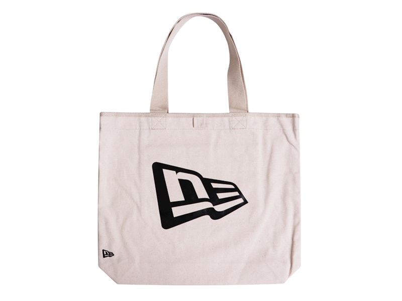 New Era Flag Black Logo Canvas White Tote Bag