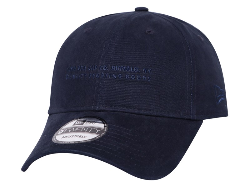 New Era Cap Co. Buffalo New York Quality Sporting Goods Slogan Navy Gray 9TWENTY Cap