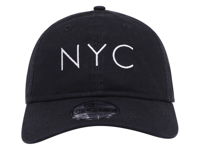 New Era NYC Washed Duck Canvas Black 9FORTY Unstructured Cap