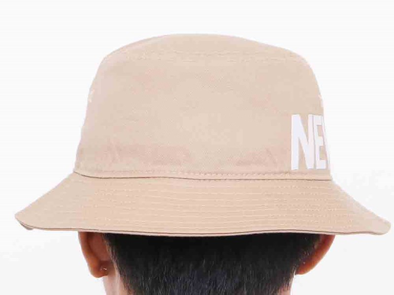 New Era White Wordmark Side Essential Khaki Bucket Cap