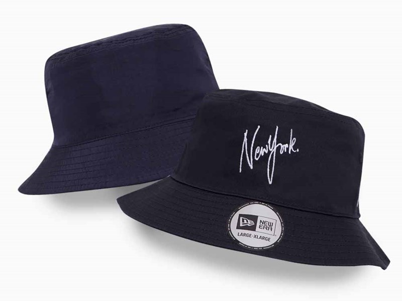 New Era New York Script Reversible Dark Royal Navy Bucket Hat
