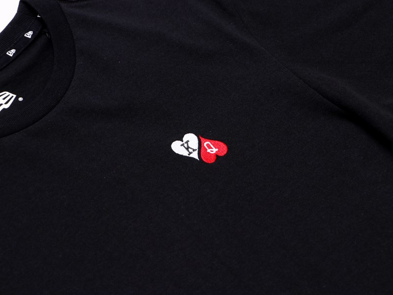 New Era King and  Queen of Hearts Playing Card Black Short Sleeve Shirt
