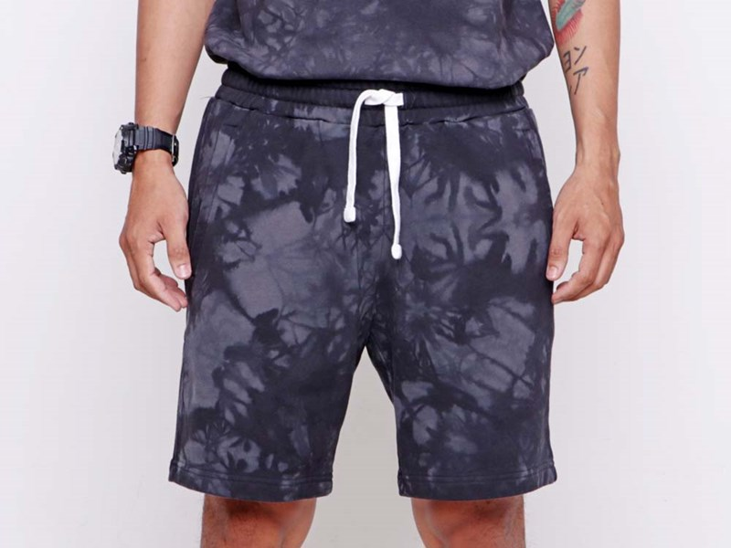 New Era Color Tie Dye Cloud Dying Black Knit Shorts