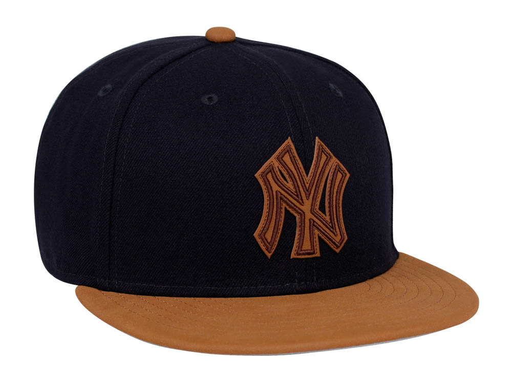 34437836289 shopping new york yankees mlb leather patcher navy leather brown 9fifty cap  987f6 15777