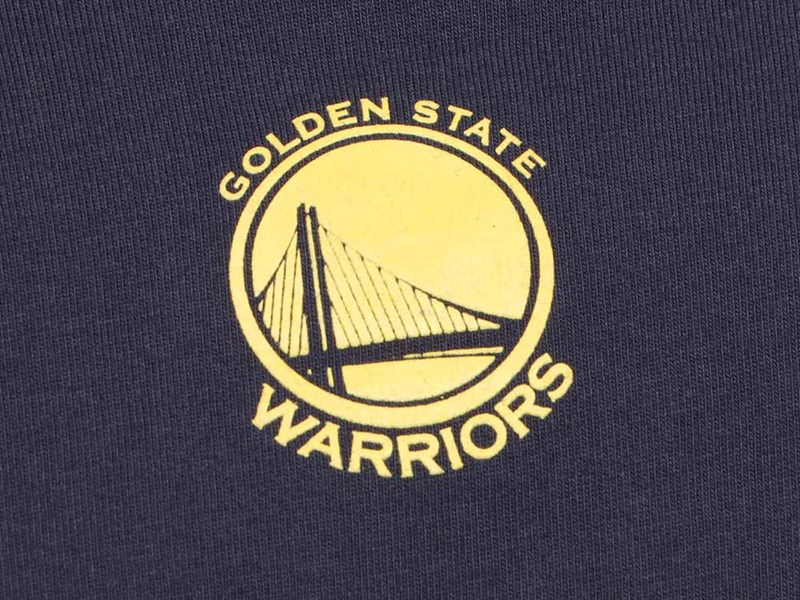 Golden State Warriors NBA Sticker Logo Short Sleeve Navy Shirt