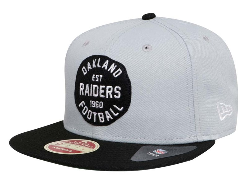 Oakland Raiders NFL Double Patched Snap Gray Black 9FIFTY Cap