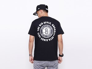 Brooklyn Nets NBA Circle Teams Black Short Sleeves Shirt