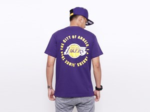 Los Angeles Lakers NBA Circle Teams Purple Short Sleeves Shirt