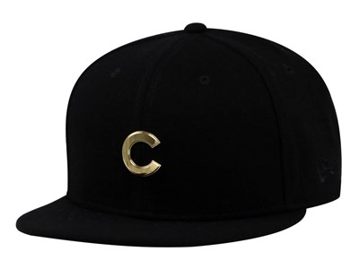 Chicago Cubs MLB Badge Slick Gold Logo Black 9FIFTY Cap