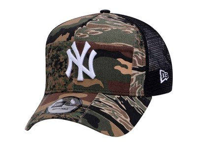New York Yankees MLB Camo Patchwork Trucker 9FORTY A-Frame Cap