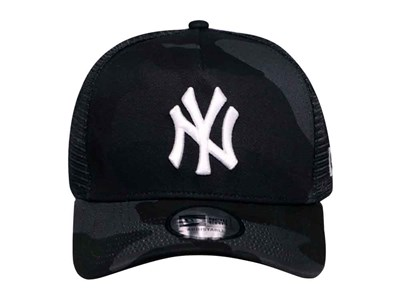 05c1f4498518e ... New York Yankees MLB Camo Black Trucker 9FORTY A-Frame Cap