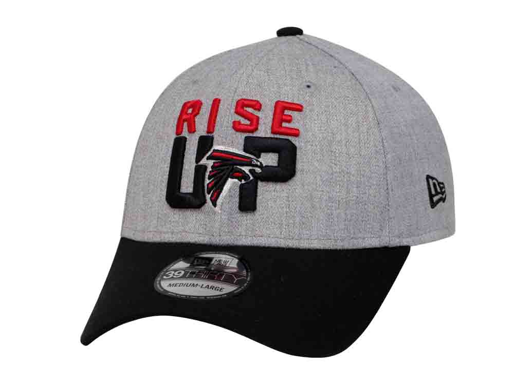 Rise Up Atlanta Falcons NFL On Stage 2018 Heather Gray Black 39THIRTY Cap 819bdb2f23c