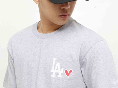 Los Angeles Dodgers MLB Heart Short Sleeve Gray Shirt