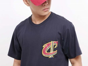 Cleveland Cavaliers NBA Pocket Short Sleeve Navy Shirt