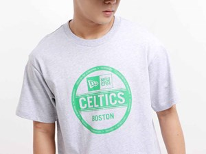 Boston Celtics NBA Sticker Logo Short Sleeve Gray Shirt