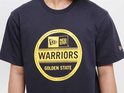 e33d1227693 ... Golden State Warriors NBA Sticker Logo Short Sleeve Navy Shirt