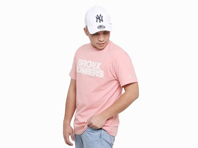 Bronx Bombers New York Yankees MLB Super Big Fan Short Pocket Sleeve Peach Pink Shirt