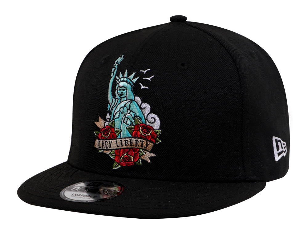 437d56e81ad New Era NYC Queen Liberty Old School Tattoos Black 9FIFTY Cap