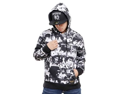 Bruce Lee All Over Black White Pullover Hoodie
