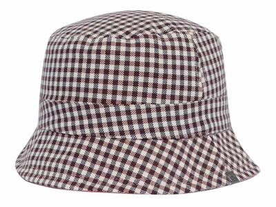 1270d7d3cc731 New Era Gingham Reversible Checkered Tan Pink Bucket ...
