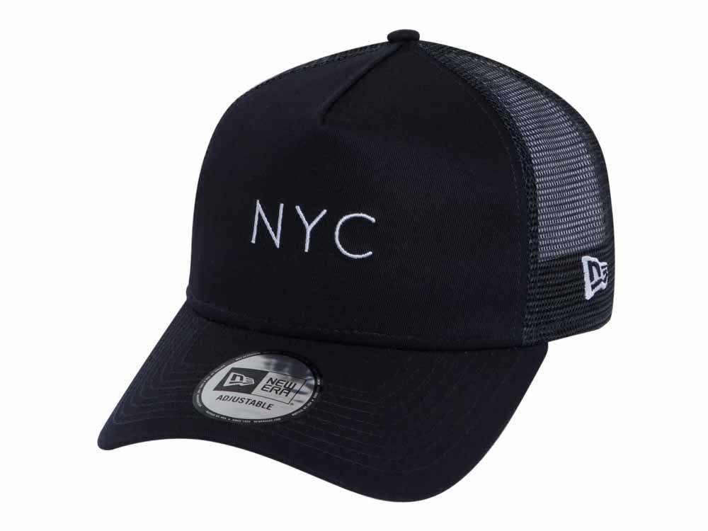 hot sale online 256de ee899 New Era NYC Trucker Mesh Navy 9FORTY A-Frame Cap