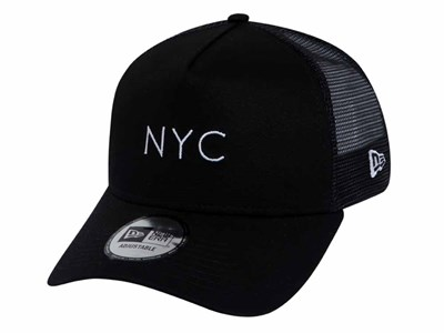 sports shoes 625fd 5087a New Era NYC Trucker Mesh Black 9FORTY A-Frame Cap ...