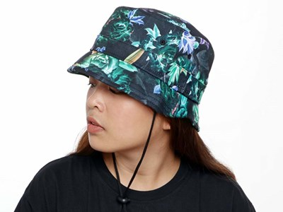 New Era Floral  Black Bucket Cap