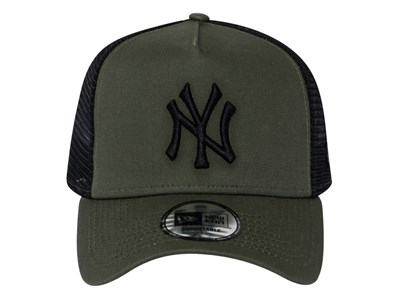 886dbf51 ... New York Yankees MLB League Essential Trucker Mesh Olive Black 9FORTY  E-Frame Cap
