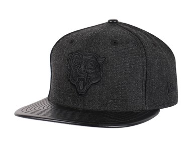 Chicago Bears NFL Leather Match Black 9FIFTY Cap
