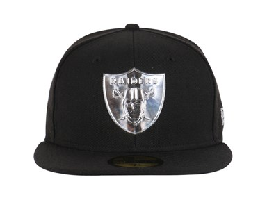 NFL Oakland Raiders Liquid Chrome Black 59FIFTY Cap