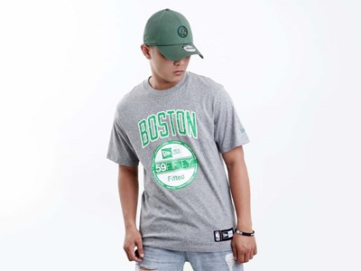 Boston Celtics NBA New Era Team Heather Charcoal Short Sleeve Black Shirt