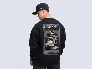New Era MCMXX Centennial Kick Off Crew Neck Black Long Sweatshirt (LAST STOCK Size S)