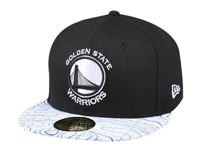 Golden State Warriors NBA Geological Survey Black White 59FIFTY Cap