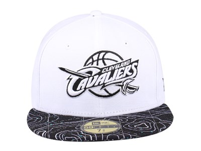 Cleveland Cavaliers NBA Geological Survey White Black 59FIFTY Cap
