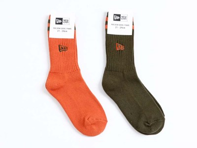 New Era 2 Pair Rib Crew Orange Khaki Socks Accessory