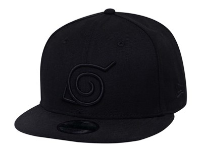 Konoha Hidden Leaf Village Naruto Black on Black  9FIFTY Cap