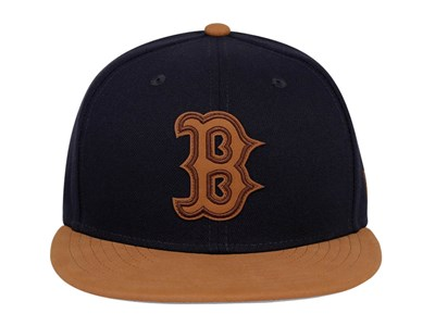 Boston Red Sox MLB Leather Patcher Navy Leather Brown 9FIFTY Cap