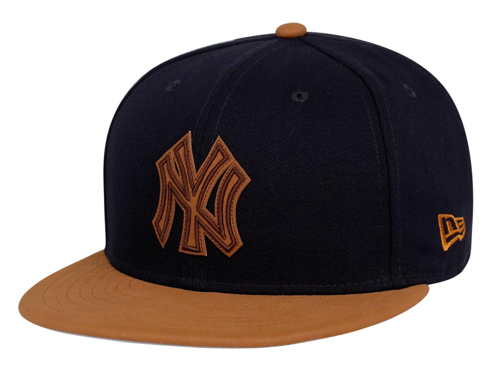 new york yankees mlb leather patcher navy leather brown 9fifty cap