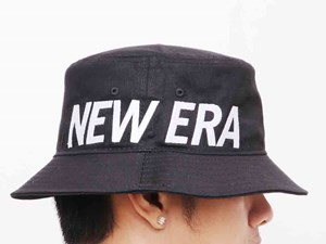 New Era White Wordmark Side Essential Black Bucket Cap