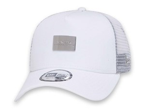 New Era Metal Plate Lida Silver White 9FORTY A-Frame Trucker Cap