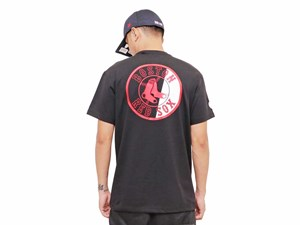 Boston Red Sox MLB Half Logo Black Short Sleeve Shirt